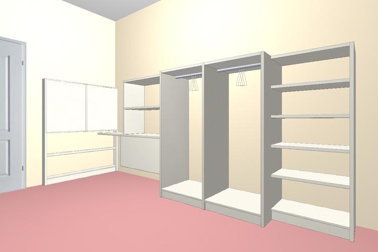 Дизайн проект гардеробной в мансарду